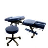 Chiropractic table with accessory therapy stool in smae colour navy