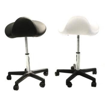 black and white saddle stools
